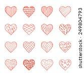 set of hand drawn doodle hearts.... | Shutterstock . vector #249804793