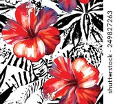 floral exotic tropical seamless ...   Shutterstock .eps vector #249827263