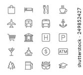 map and location thin icons | Shutterstock .eps vector #249852427