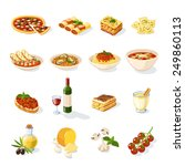 italian food set with pizza... | Shutterstock .eps vector #249860113