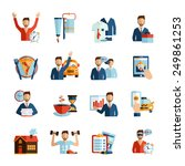 Man Daily Routine Icons Set Da...