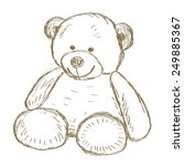 hand drawn isolated teddy bear. ... | Shutterstock .eps vector #249885367