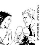 romantic couple toasting | Shutterstock . vector #249910423