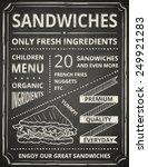 sandwich poster on blackboard.... | Shutterstock .eps vector #249921283