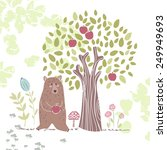 forest theme  bear with apple | Shutterstock .eps vector #249949693