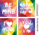 valentines day vector set on... | Shutterstock .eps vector #249953317