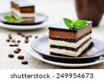 Opera Cake On A Light Brown...