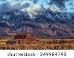 Mormon Barn With Tetons In The...