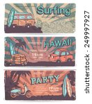 vector set of vintage summer... | Shutterstock .eps vector #249997927