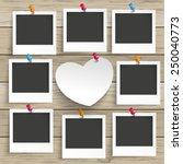 9 photo frames with white paper ... | Shutterstock .eps vector #250040773