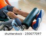 leg extension exercise man at... | Shutterstock . vector #250077097