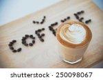 hot espresso with latte art | Shutterstock . vector #250098067