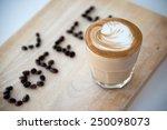 hot espresso with latte art | Shutterstock . vector #250098073