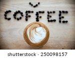 hot espresso with latte art | Shutterstock . vector #250098157