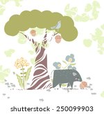 forest theme card with wild pig ... | Shutterstock .eps vector #250099903