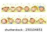 border frame with twelve happy... | Shutterstock .eps vector #250104853