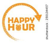 orange happy hour icon  label ... | Shutterstock . vector #250134457