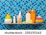 bath accessories on shelf on... | Shutterstock . vector #250155163