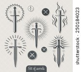 set of vintage vector swords. | Shutterstock .eps vector #250184023