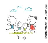 happy family with father ... | Shutterstock .eps vector #250205953