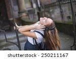 young beautiful woman enjoying... | Shutterstock . vector #250211167