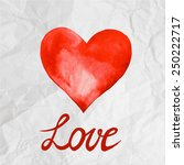 red watercolor heart on creased ... | Shutterstock .eps vector #250222717