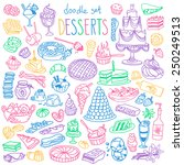 set of various doodles  hand... | Shutterstock .eps vector #250249513