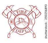 fire dept. label. helmet with...   Shutterstock .eps vector #250256893