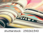 stack of magazines | Shutterstock . vector #250261543