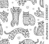 Art Cats With Floral Ornament ...