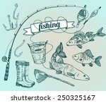 the drawn vector set  fishing.... | Shutterstock .eps vector #250325167