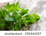 Peppermint On Wooden Table