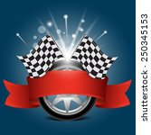 wheel with red ribbon and race... | Shutterstock .eps vector #250345153