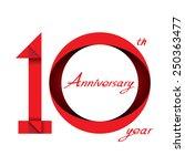 10 years anniversary ribbon ... | Shutterstock .eps vector #250363477