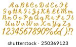 3d gold alphabet letters and... | Shutterstock . vector #250369123