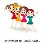 little girls dancing ballet | Shutterstock .eps vector #250373263