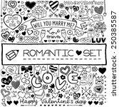 doodle set of hearts  arrows ...   Shutterstock .eps vector #250385587