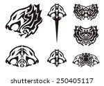 tribal lion head symbols tattoos | Shutterstock .eps vector #250405117