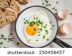 Fried Egg With Chives Served...
