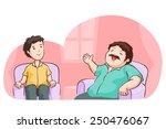 the man boasting in living room ... | Shutterstock .eps vector #250476067