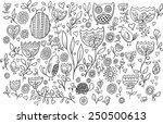 flower bird doodle vector... | Shutterstock .eps vector #250500613