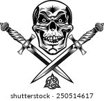 skull dagger knife  | Shutterstock .eps vector #250514617