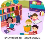 illustration of kids reading... | Shutterstock .eps vector #250580023