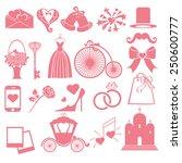 flat wedding  icons  symbols ... | Shutterstock .eps vector #250600777