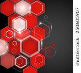 abstract red background hexagon.... | Shutterstock .eps vector #250605907