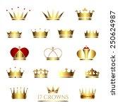 golden crown icon set. crown... | Shutterstock .eps vector #250624987