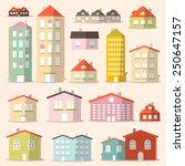 flat design paper houses  ... | Shutterstock . vector #250647157