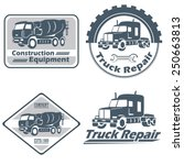 vector set of vintage trucks... | Shutterstock .eps vector #250663813