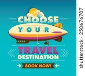 travel background with zeppelin.... | Shutterstock .eps vector #250676707