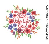 watercolor valentine's day card | Shutterstock . vector #250686097